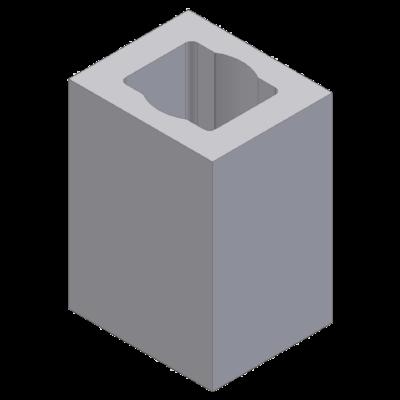 Perlite blok with 1 ventlation channel 20x24x33cm