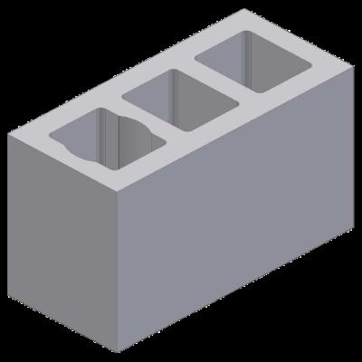 Perlite blok with 3 ventlation channels 52x24x33cm
