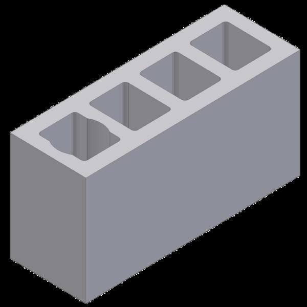 Perlite blok with 4 ventlation channels 68x24x33cm